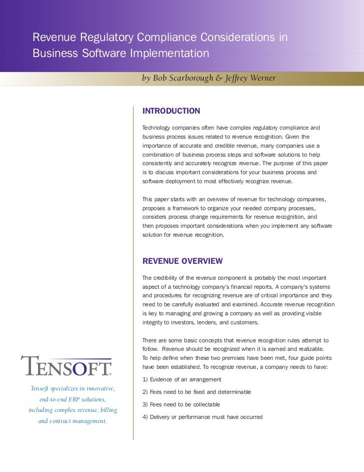 Revenue Regulatory Compliance Considerations in Business Software Implementation                                     by Bo...
