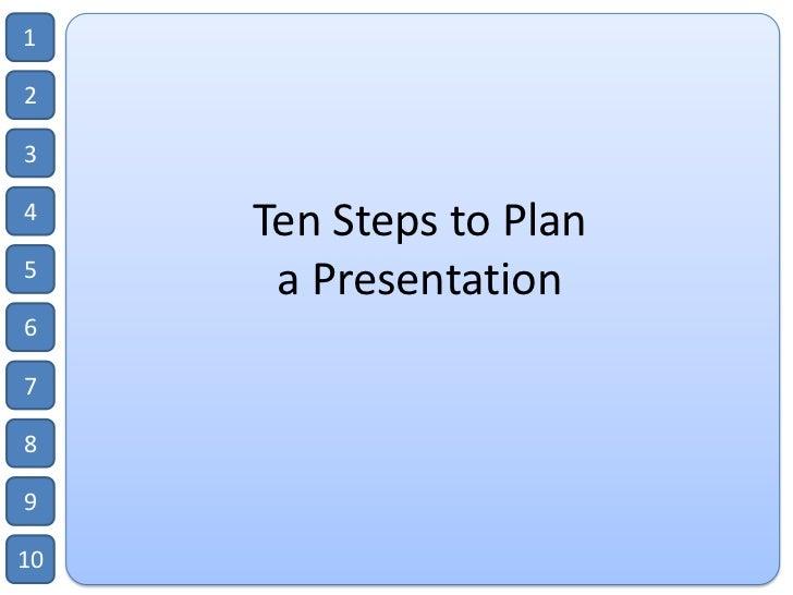 Ten steps to plan a presentation