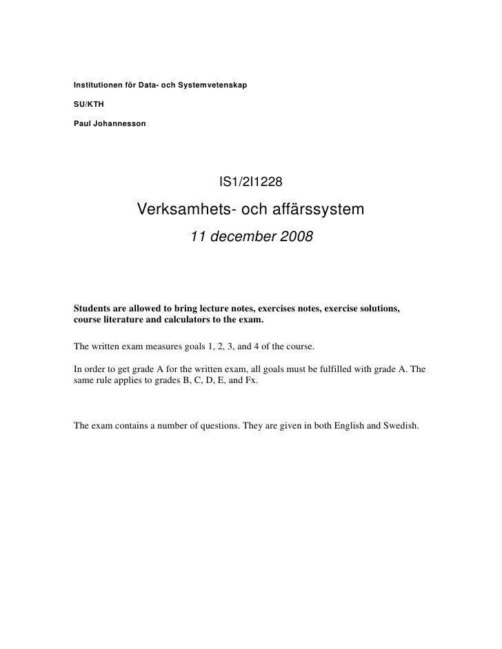 Institutionen för Data- och Systemvetenskap  SU/KTH  Paul Johannesson                                          IS1/2I1228 ...
