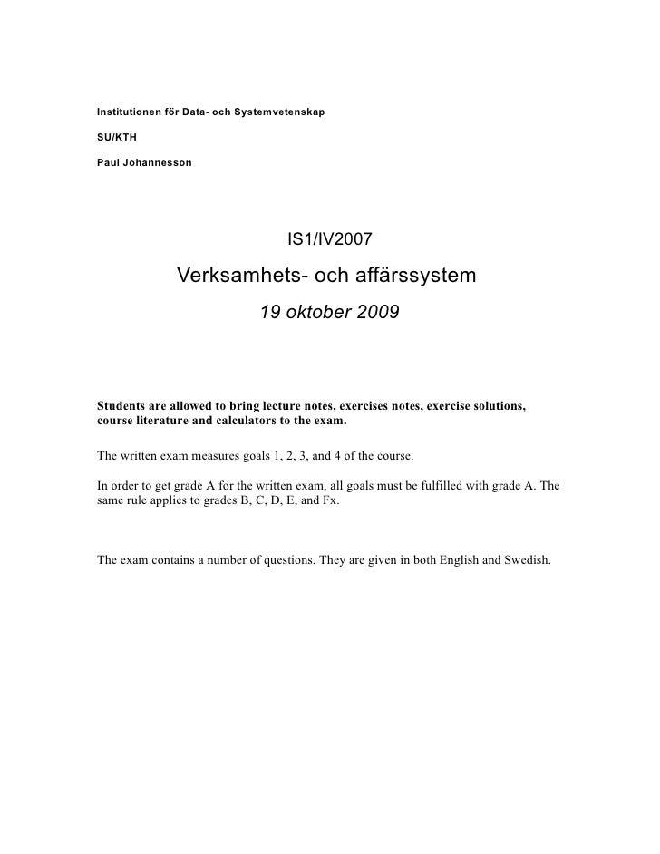 Institutionen för Data- och Systemvetenskap  SU/KTH  Paul Johannesson                                          IS1/IV2007 ...