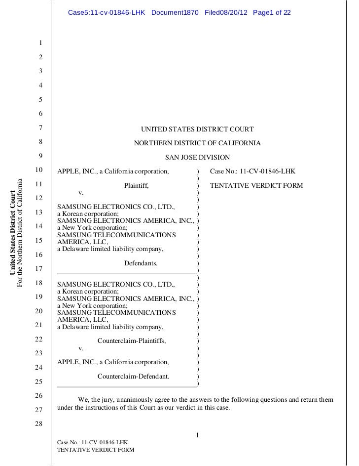 Case5:11-cv-01846-LHK Document1870 Filed08/20/12 Page1 of 22                                           1                  ...