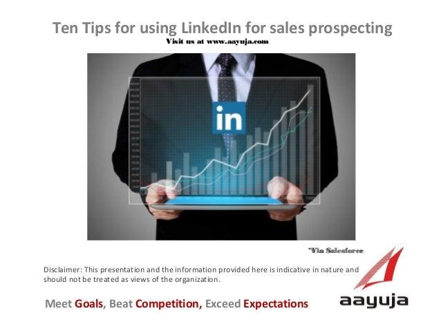 Ten Tips for using LinkedIn for sales prospecting