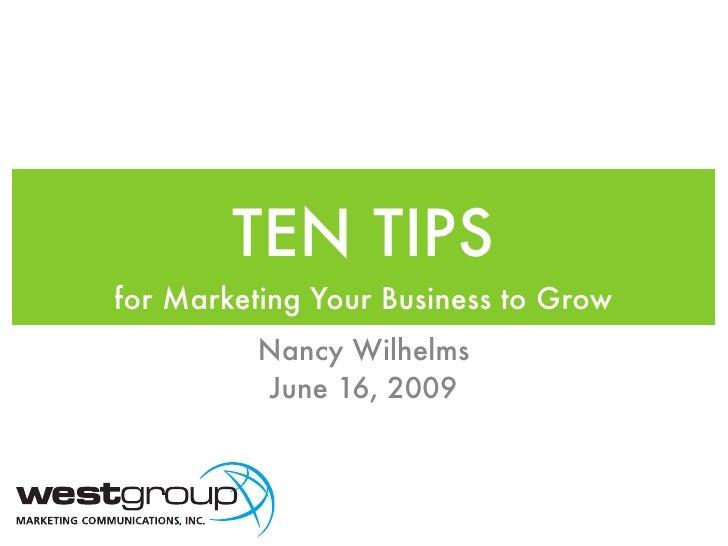 Ten Tips for Women in Business Network