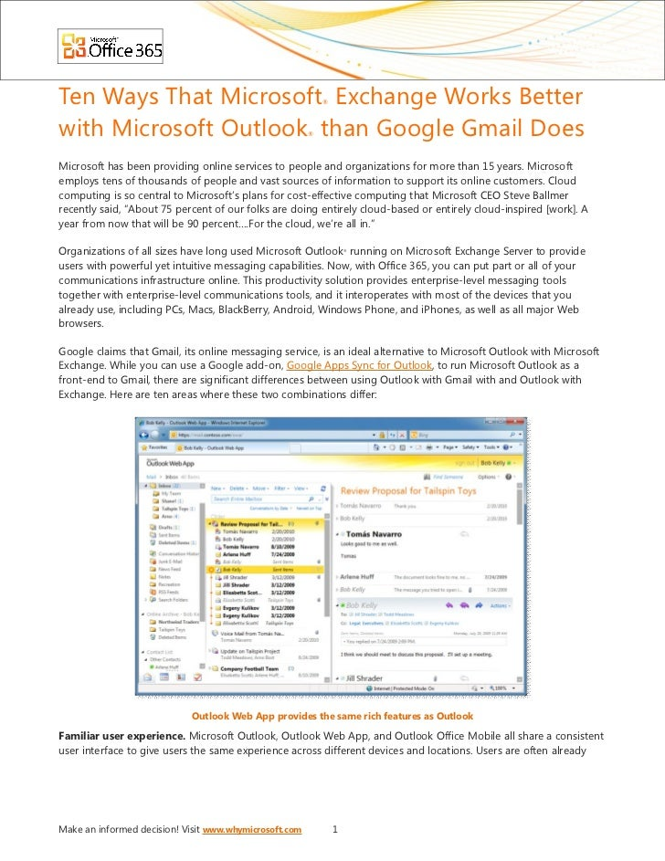 Ten Ways That Microsoft Exchange Works Better               ®with Microsoft Outlook than Google Gmail Does           ®Micr...