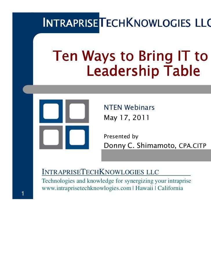 INTRAPRISETECHKNOWLOGIES LLC        Ten Ways to Bring IT to the            Leadership Table                            NTE...