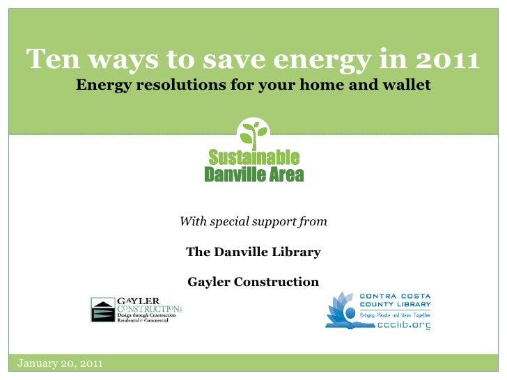 Ten ways to save energy in 2011