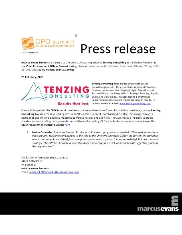 Press releasemarcus evans Summits is pleased to announce the participation of Tenzing Consulting as a Solution Provider at...