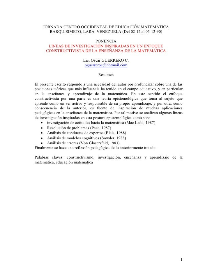 JORNADA CENTRO OCCIDENTAL DE EDUCACIÓN MATEMÁTICA        BARQUISIMETO, LARA, VENEZUELA (Del 02-12 al 05-12-90)            ...