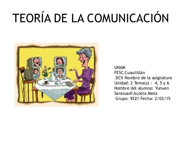 TEORÍA DE LA COMUNICACIÓN UNAM FESC Cuautitlán DCV Nombre de la asignatura Unidad: 2 Tema(s) : 4, 5 y 6 Nombre del alumno:...