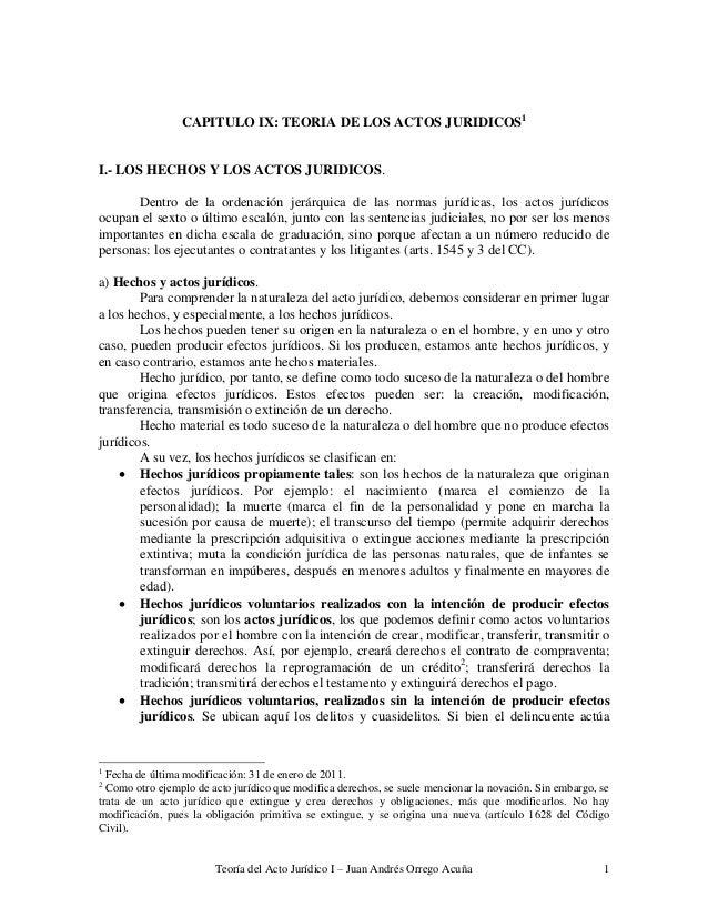Teoría del Acto Jurídico I – Juan Andrés Orrego Acuña 1 CAPITULO IX: TEORIA DE LOS ACTOS JURIDICOS1 I.- LOS HECHOS Y LOS A...
