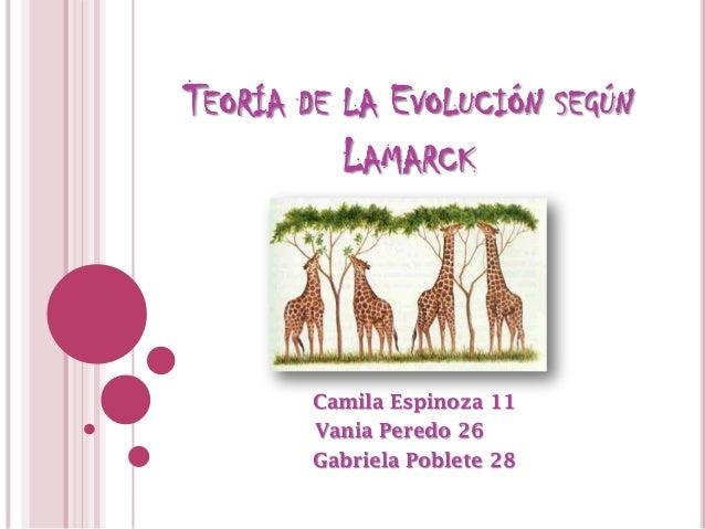 TEORÍA DE LA EVOLUCIÓN SEGÚN          LAMARCK        Camila Espinoza 11        Vania Peredo 26        Gabriela Poblete 28