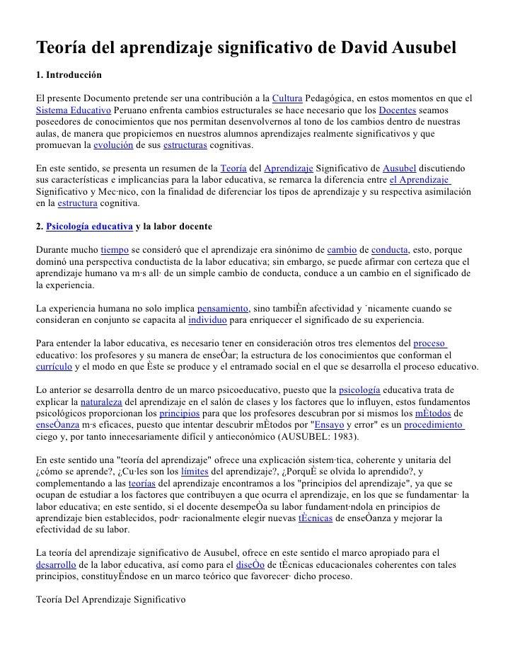 Teoría del aprendizaje significativo de David Ausubel1. IntroducciónEl presente Documento pretende ser una contribución a ...