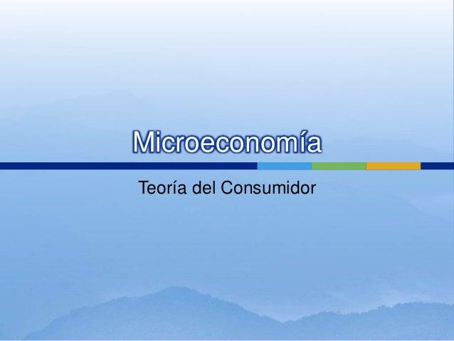 Microeconomía Teoría del Consumidor