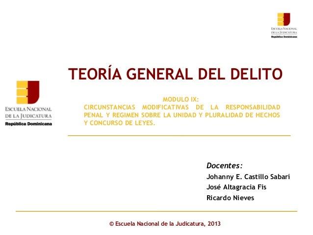 TEORÍA GENERAL DEL DELITO MODULO IX: CIRCUNSTANCIAS MODIFICATIVAS DE LA RESPONSABILIDAD PENAL Y REGIMEN SOBRE LA UNIDAD Y ...