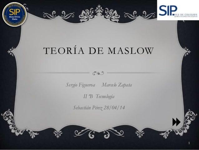 TEORÍA DE MASLOW Sergio Figueroa Marcelo Zapata II ºB Tecnología Sebastián Pérez 28/04/14 1