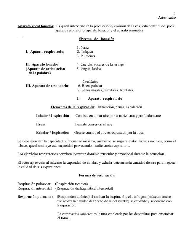 Artes-teatro  Aparato vocal fonador: Es quien interviene en la producción y emisión de la voz, esta constituido por el  ap...
