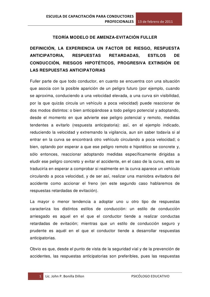 ESCUELA DE CAPACITACIÓN PARA CONDUCTORES                                     PROFECIONALES 13 de febrero de 2011          ...