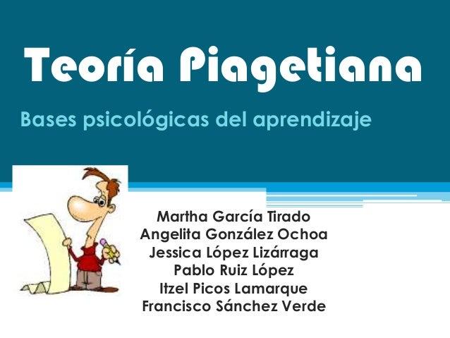 Teoría PiagetianaBases psicológicas del aprendizajeMartha García TiradoAngelita González OchoaJessica López LizárragaPablo...