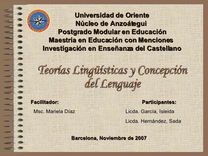 Universidad de Oriente Núcleo de Anzoátegui  Postgrado Modular en Educación Maestría en Educación con Menciones  Investiga...