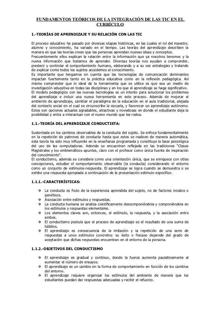 FUNDAMENTOS TEÓRICOS DE LA INTEGRACIÓN DE LAS TIC EN EL                        CURRÍCULO1.-TEORÍAS DE APRENDIZAJE Y SU REL...
