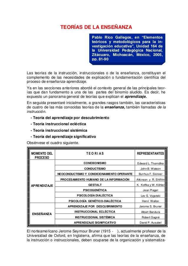 """TEORÍAS DE LA ENSEÑANZA                                       Pablo Rico Gallegos, en """"Elementos                          ..."""