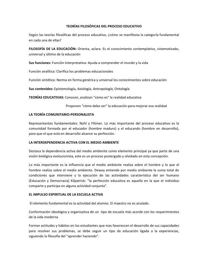 TeoríAs FilosóFicas Del Proceso Educativo