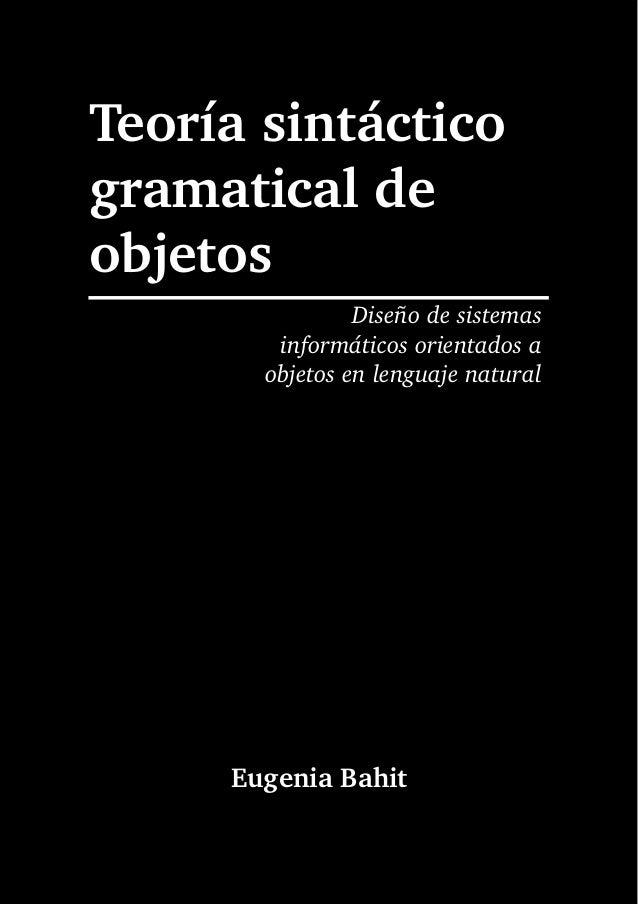 Teoría sintáctico-gramatical de objetos (eugenia bahit)