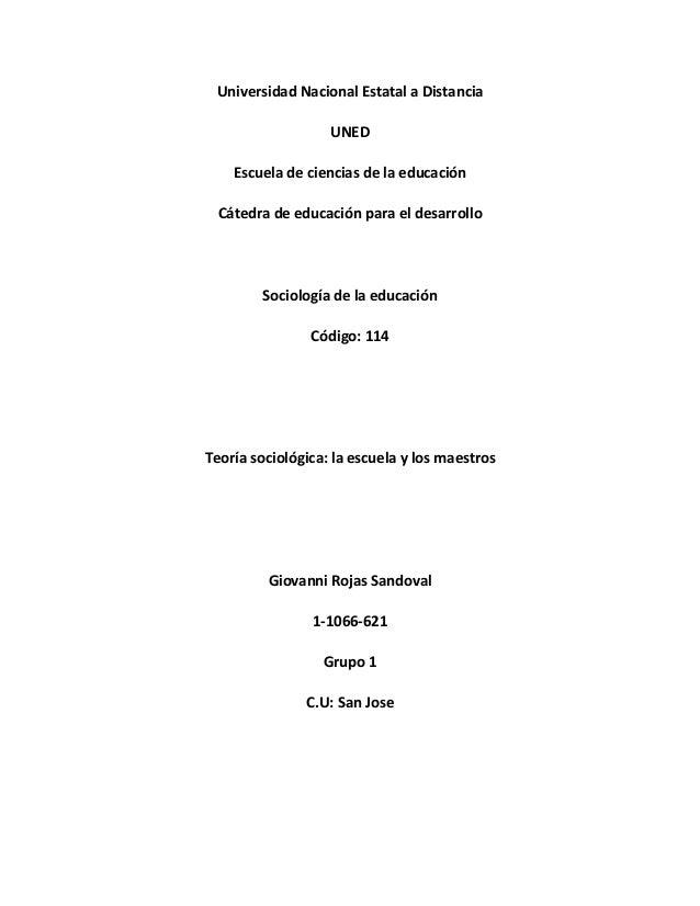 Universidad Nacional Estatal a Distancia UNED Escuela de ciencias de la educación Cátedra de educación para el desarrollo ...