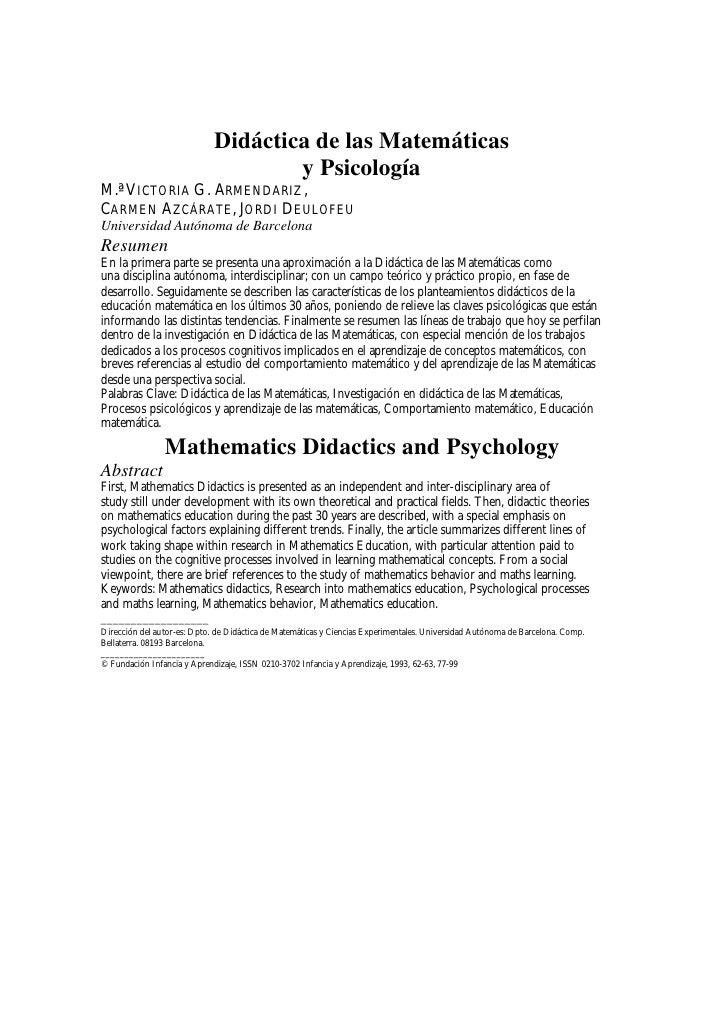 Didáctica de las Matemáticas                                      y Psicología M.ª VICTORIA G. ARMENDARIZ , CARMEN AZCÁRAT...