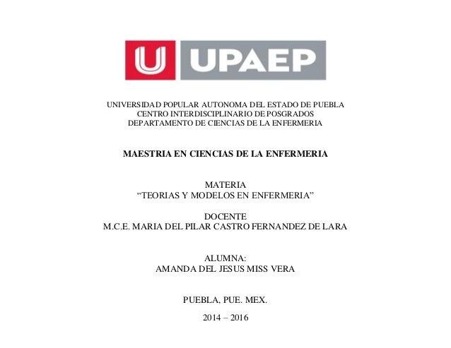 UNIVERSIDAD POPULAR AUTONOMA DEL ESTADO DE PUEBLA CENTRO INTERDISCIPLINARIO DE POSGRADOS DEPARTAMENTO DE CIENCIAS DE LA EN...