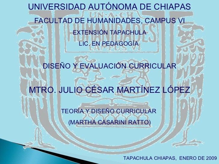 UNIVERSIDAD AUTÓNOMA DE CHIAPAS FACULTAD DE HUMANIDADES, CAMPUS VI EXTENSIÓN TAPACHULA LIC. EN PEDAGOGÍA  DISEÑO Y EVALUAC...