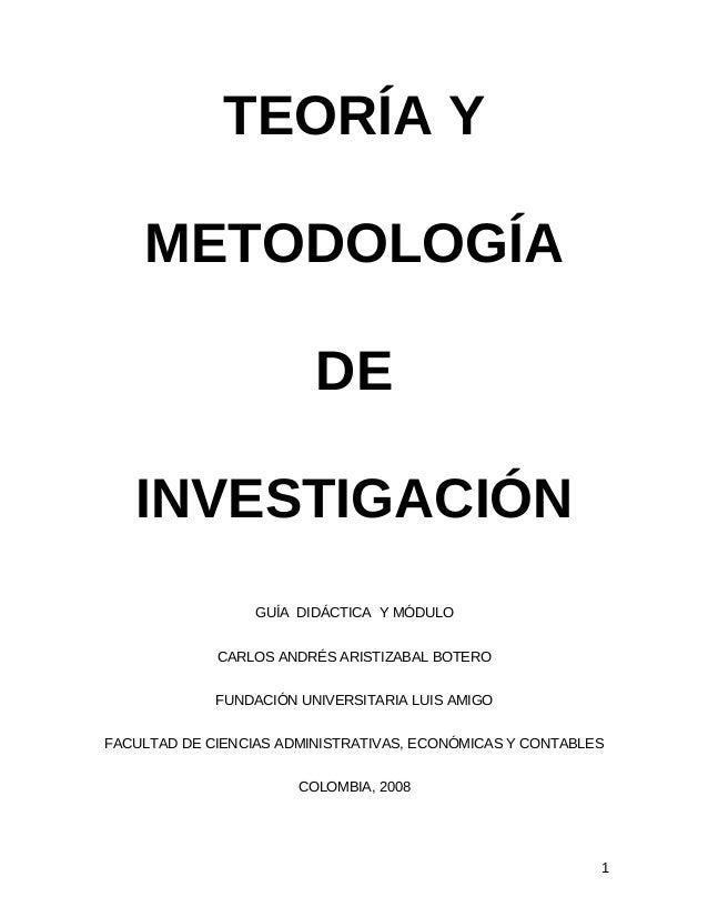 Teoría y metodología de la investigación