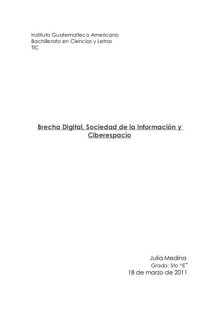 Instituto Guatemalteco AmericanoBachillerato en Ciencias y LetrasTIC  Brecha Digital, Sociedad de la Información y        ...
