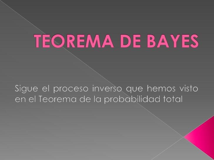 TEOREMA DE BAYES<br />Sigue el proceso inverso que hemos visto en el Teorema de la probabilidad total<br />