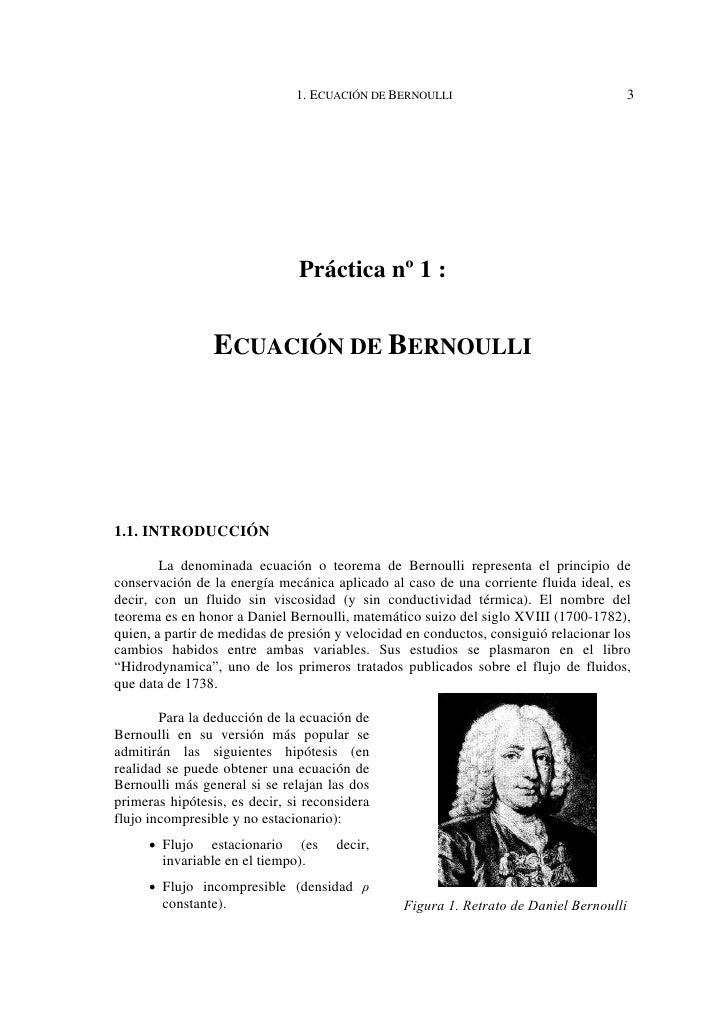 1. ECUACIÓN DE BERNOULLI                                  3                               Práctica nº 1 :                 ...