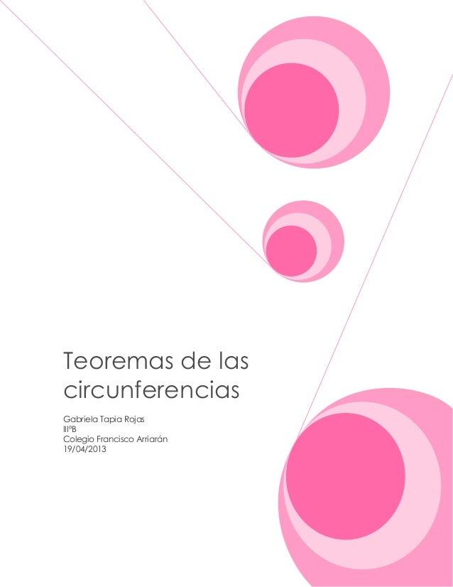 Teoremas de las circunferencias Gabriela Tapia Rojas IIIºB Colegio Francisco Arriarán 19/04/2013