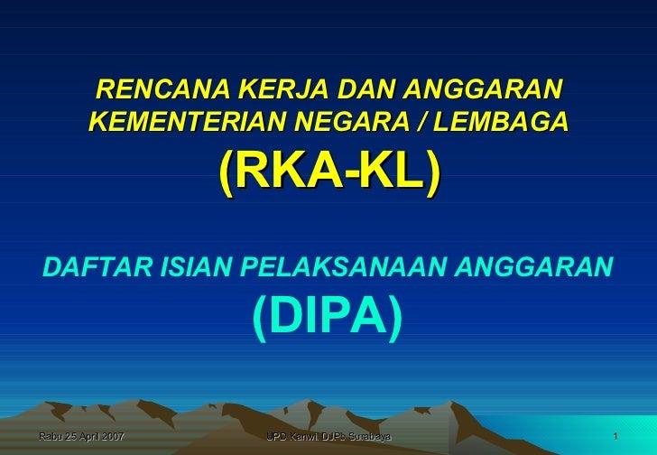 RENCANA KERJA DAN ANGGARAN KEMENTERIAN NEGARA / LEMBAGA (RKA-KL) DAFTAR ISIAN PELAKSANAAN ANGGARAN (DIPA)