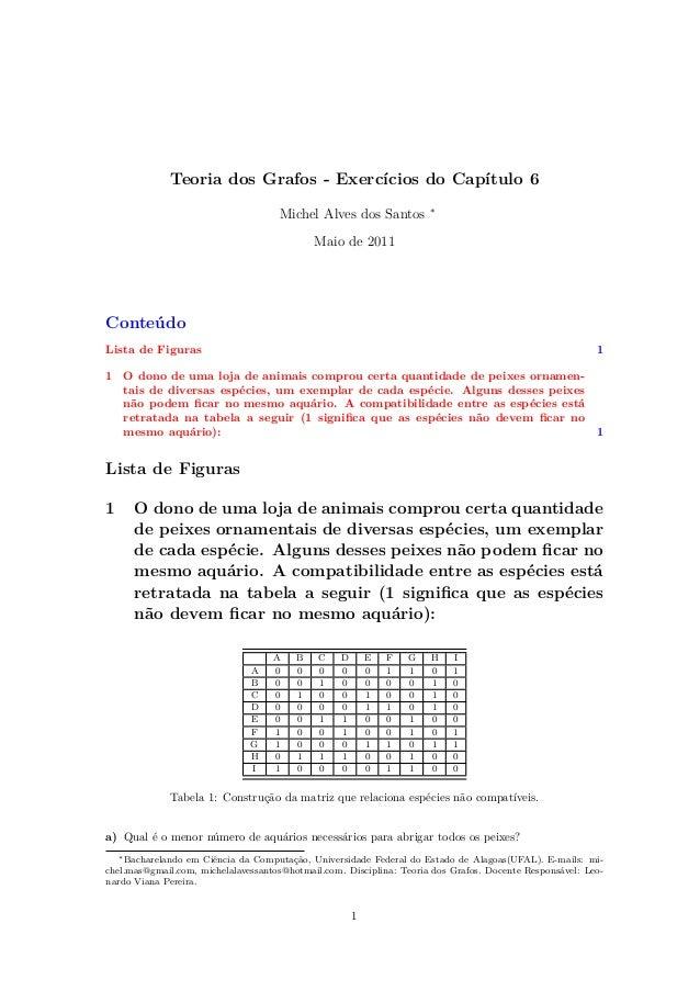 Teoria dos Grafos - Exercícios do Capítulo 6 Michel Alves dos Santos ∗ Maio de 2011 Conteúdo Lista de Figuras 1 1 O dono d...