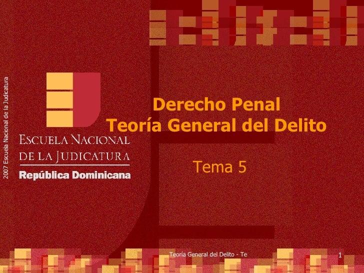 Derecho Penal  Teoría General del Delito  Tema 5