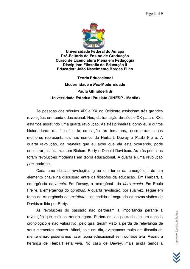 Page 1 of 9 http://www2.unifap.br/borges Universidade Federal do Amapá Pró-Reitoria de Ensino de Graduação Curso de Licenc...