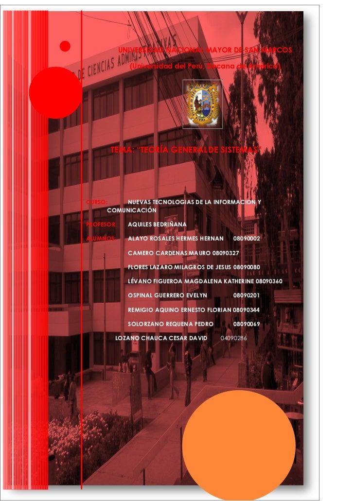 """UNIVERSIDAD NACIONAL MAYOR DE SAN MARCOS                (Universidad del Perú, Decana de América)            TEMA: """"TEORÍA..."""