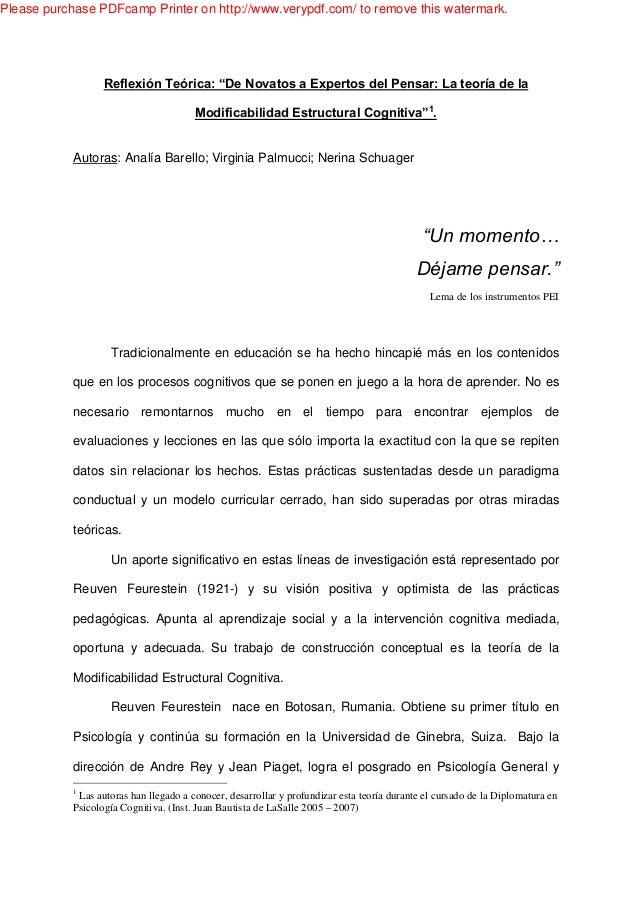 """ReflexiónTeórica:""""DeNovatosaExpertosdelPensar:Lateoríadela ModificabilidadEstructuralCognitiva""""1 . Autoras: Analía Barello..."""