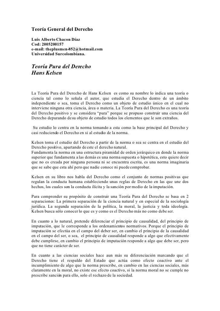 Teoría General del Derecho Luis Alberto Chacon Díaz Cod: 2005200157 e-mail: theplusmen-852@hotmail.com Universidad Surcolo...