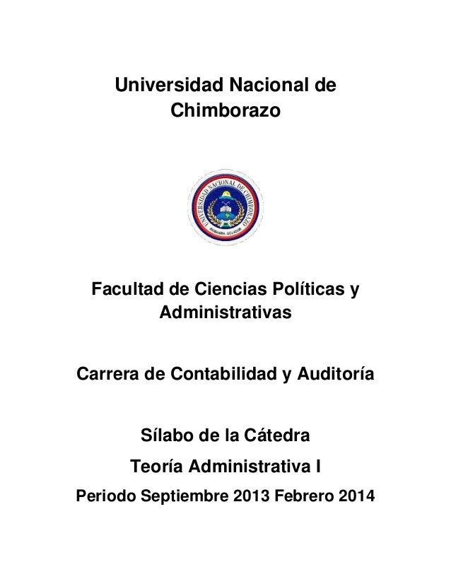 Universidad Nacional de Chimborazo Facultad de Ciencias Políticas y Administrativas Carrera de Contabilidad y Auditoría Sí...