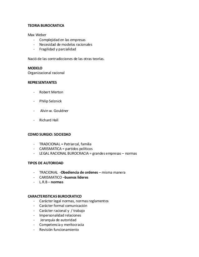 TEORIA BUROCRATICAMax Weber  - Complejidad en las empresas  - Necesidad de modelos racionales  - Fragilidad y parcialidadN...