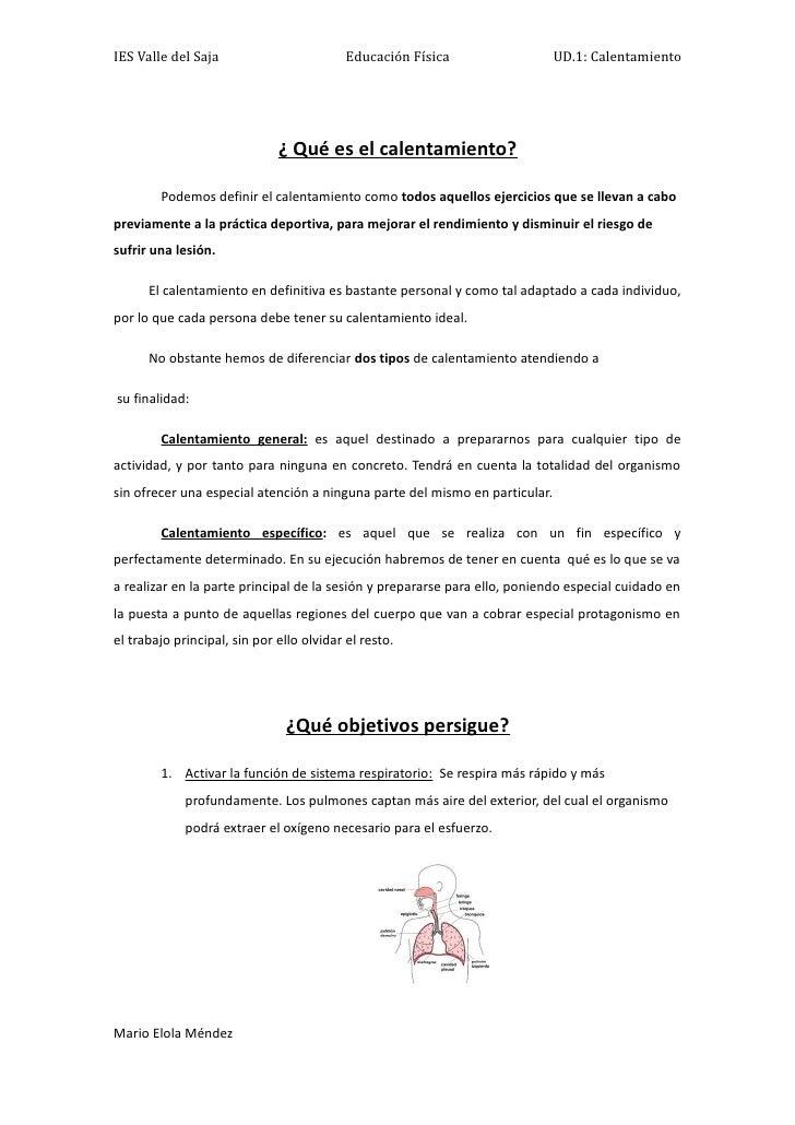 IES Valle del Saja                         Educación Física                  UD.1: Calentamiento                          ...