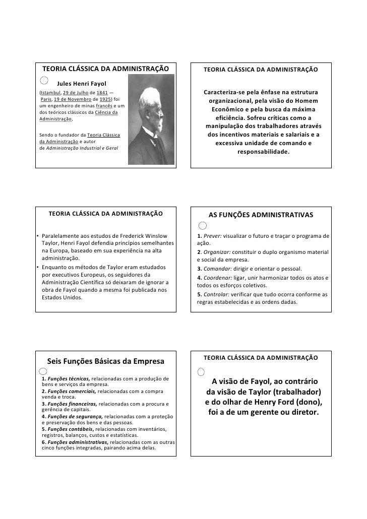 TEORIA CLÁSSICA DA ADMINISTRAÇÃO                           TEORIA CLÁSSICA DA ADMINISTRAÇÃO        Jules Henri Fayol (Ista...