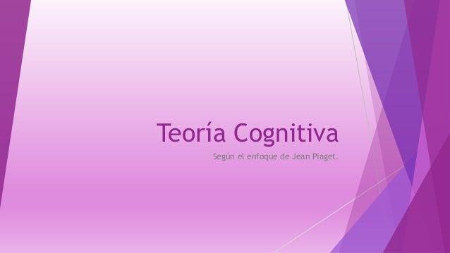 Teoría Cognitiva Según el enfoque de Jean Piaget.