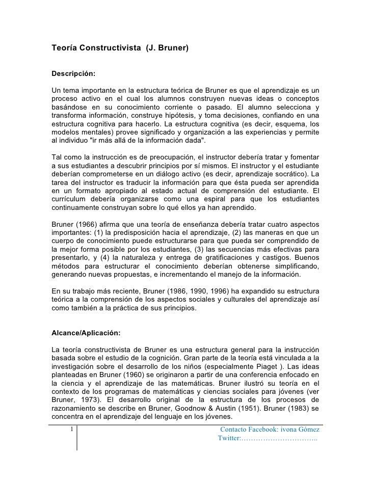 Teoría Constructivista (J. Bruner)Descripción:Un tema importante en la estructura teórica de Bruner es que el aprendizaje ...