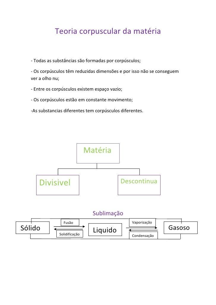 Teoria corpuscular da matéria<br />- Todas as substâncias são formadas por corpúsculos;<br />- Os corpúsculos têm reduzida...